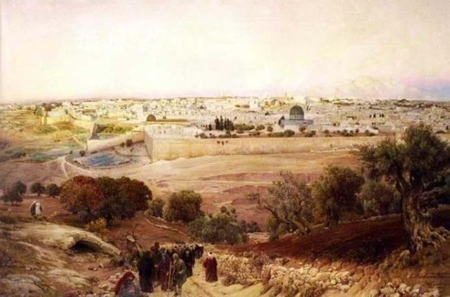 ירושלים מהר הזיתים 1902 ציור מקורי של  G. Bauerneind
